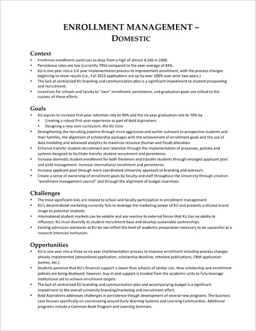 Enrollment — One Page Summary